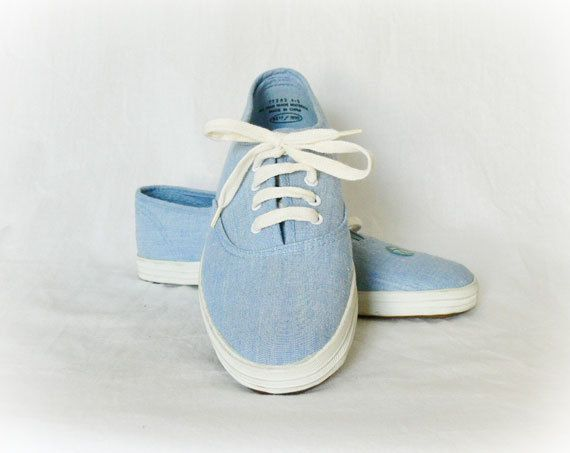 Vintage 80s Tennis Shoes 7.5 Light Blue