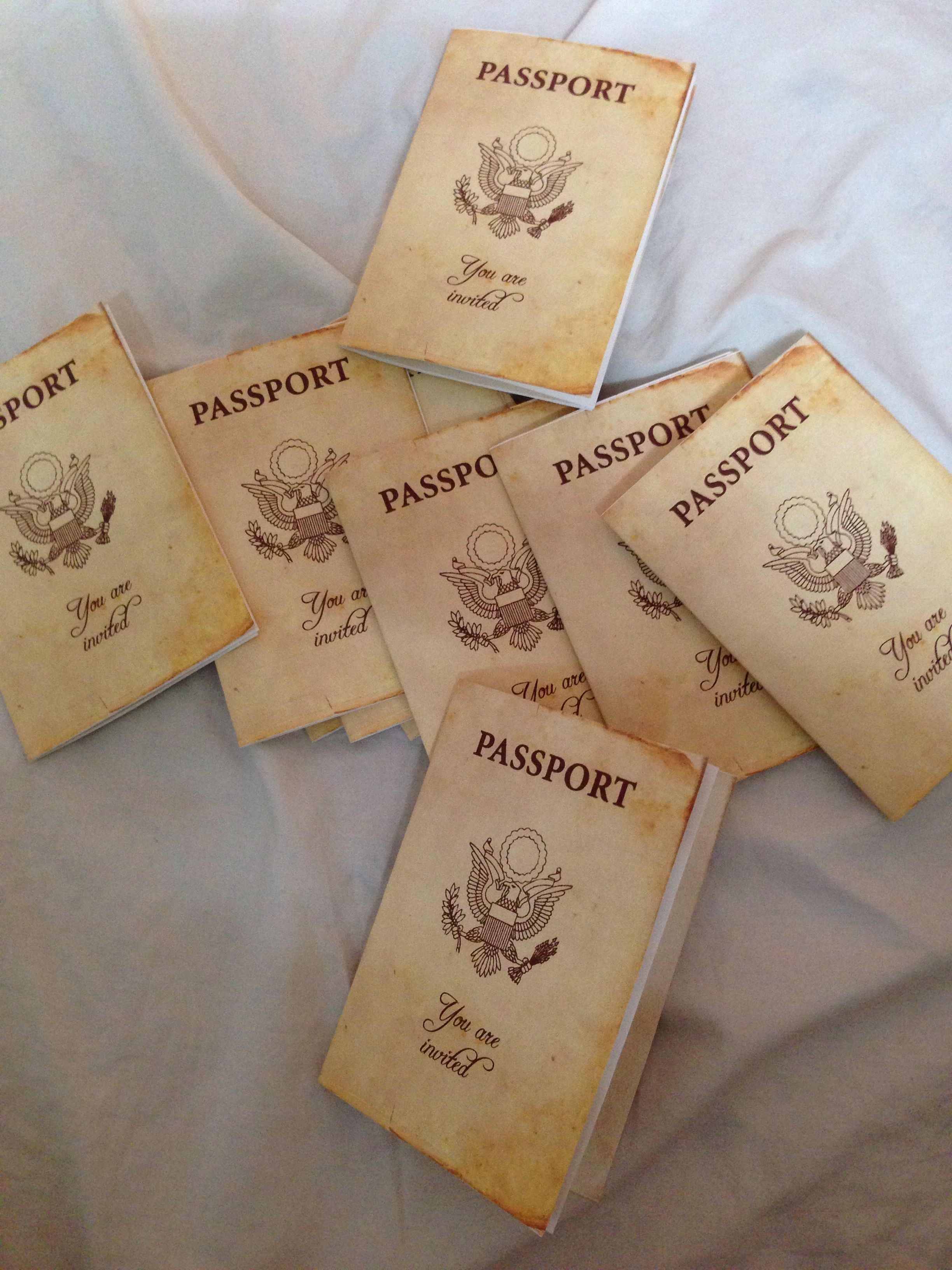 my passport invites for a travel theme party have guests
