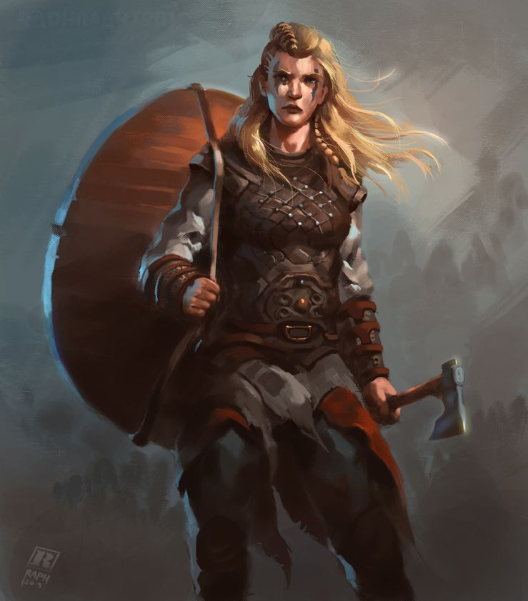 Female Viking warrior 2 by Raph04art woman shield maiden axe barbarian fighter leather armor clothes clothing fashion player character npc | Create your own roleplaying game material w/ RPG Bard: www.rpgbard.com | Writing inspiration for Dungeons and Dragons DND D&D Pathfinder PFRPG Warhammer 40k Star Wars Shadowrun Call of Cthulhu Lord of the Rings LoTR + d20 fantasy science fiction scifi horror design | Not Trusty Sword art: click artwork for source