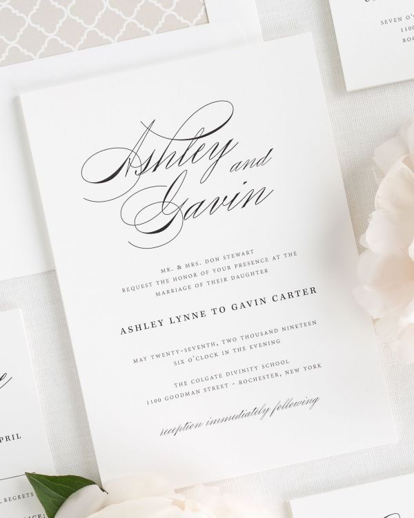 Vintage Glam Wedding Invitations Scripts Modern and Luxury
