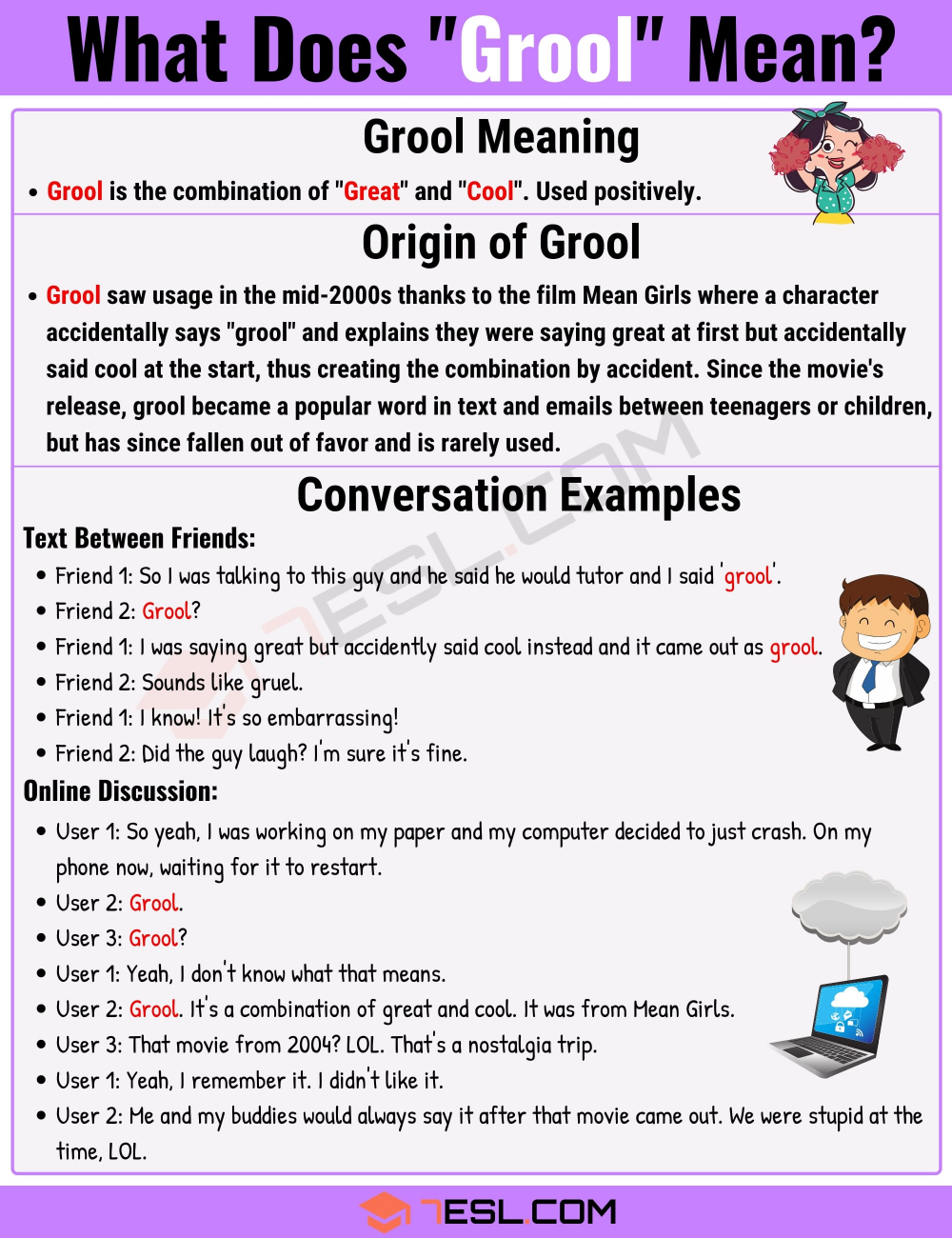 Grool Meaning What Is Grool With Great Cool Examples 7esl Slang Words Learn English Vocabulary Learn English