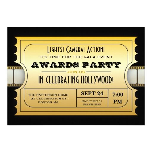 Annual Movie Awards Party Golden Ticket Invitation Ticket - movie ticket invitations template