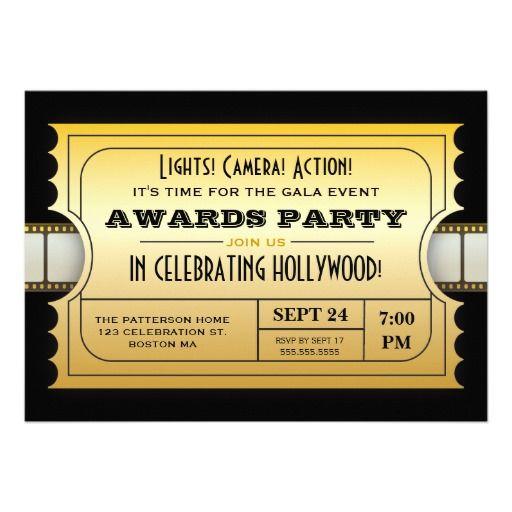 Annual Movie Awards Party Golden Ticket Card | Geburtstage