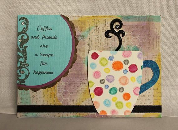 Coffee and friends original mixed media 5x7 coffee cup