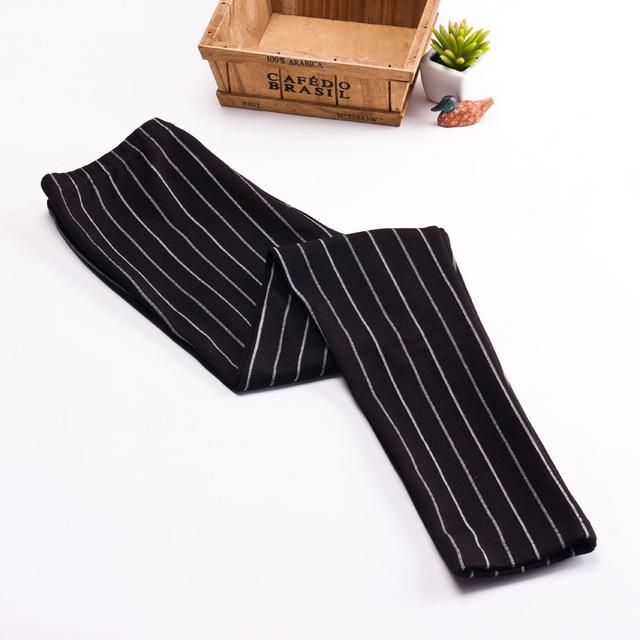 Casual Vertical Stripe Leggings Pants Leggings Black Gray Cotton Elastic Legging Trousers Women Black One Size #stripedleggings