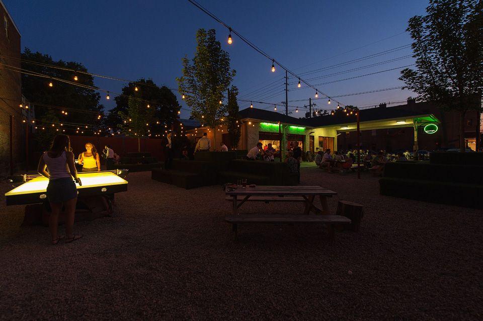 Ping pong garage bar louisville bars outdoor design
