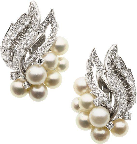 Estate Jewelry Earrings Diamond Cultured Pearl Platinum White Gold David Webb
