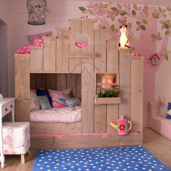 32 Dreamy Bedroom Designs For Your Little Princess: Cool Wooden Bed Designs By Saartje Prum
