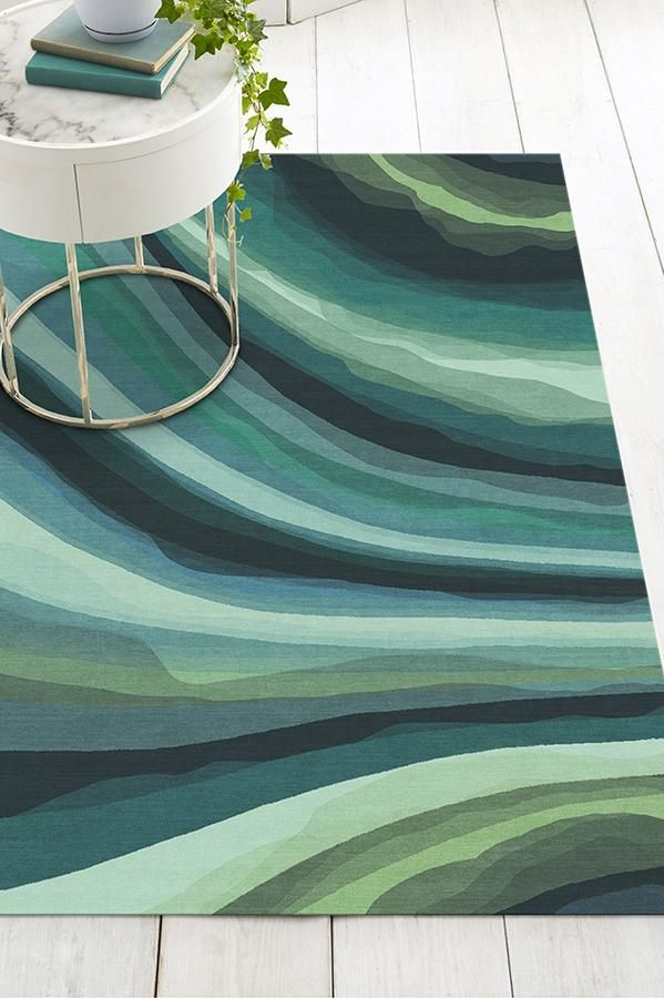 Watercolor Waves Citrus Green Rug Watercolor Wave Washable Rugs