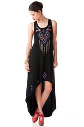Veroia Embroidered Maxi Dress | I love hi-low dresses, and this one is even better than the rest! The beading and embroidering on the front are beautiful. Any shoe, including a pair of cute wedges, or edgy gladiator-style sandals, would go perfectly with this Veroia embroidered maxi dress!