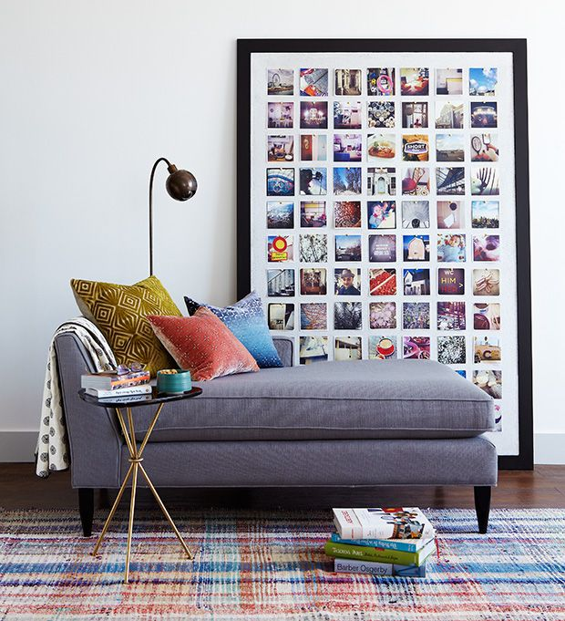 Photo board using square photos (via House & Home).