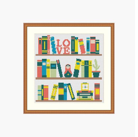 Bookshelf cross stitch pattern Books shelf by StitcheryStitch