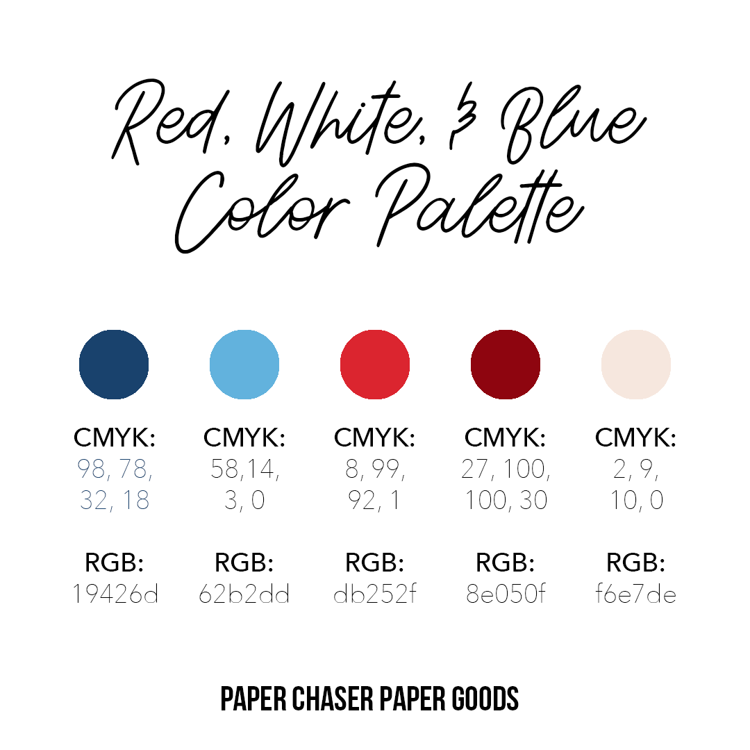 Red White Blue Color Palette Cmyk Rgb Codes Included