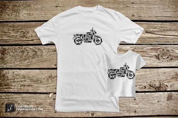 SALE! Father and Son T shirt Set – Motorcycle Collage of Bikes, Choppers, Dirt Bikes and Parts