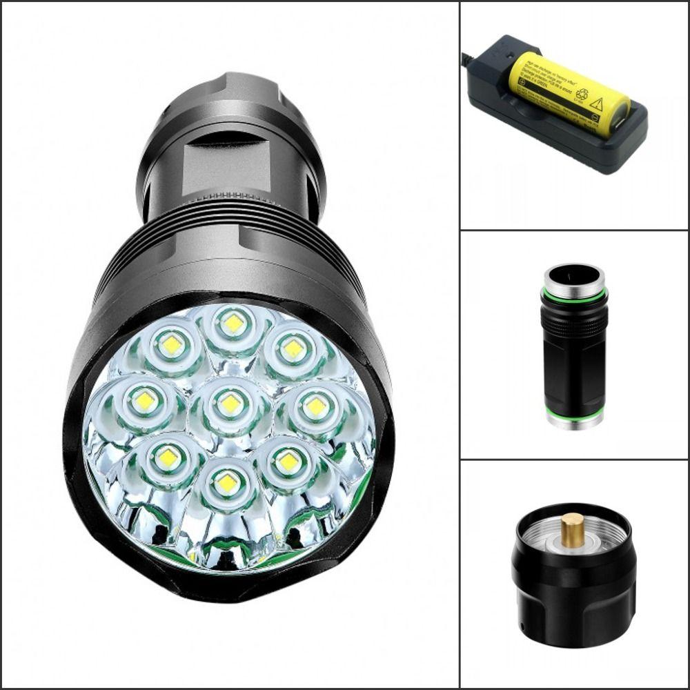 Tinhofire T9 9xt6 9xcree Xm L T6 15000 Lumens 5 Mode Led Flashlight 18650 26650 Torch Lamp Light Affiliate Portable Light Light Flashlight Led Flashlight
