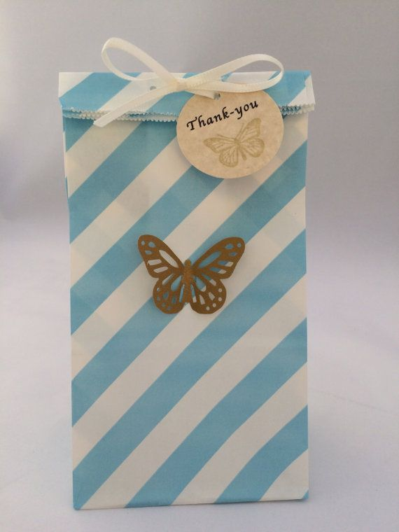 Cinderella Favor Bag With Thank You Tag And Ribbon 10 Gold Erfly Party Blue Paper Treat Gift