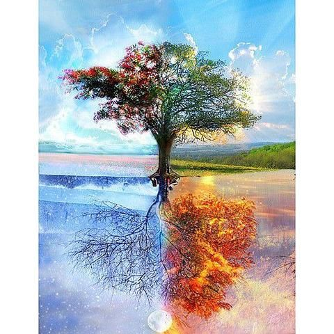 Four Seasons Tree 5D DIY Paint By Diamond Kit