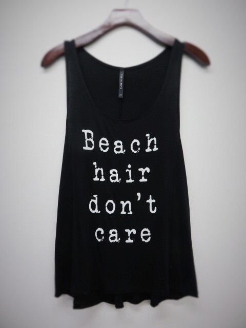 """""""Beach Hair Don't Care"""" Tank-black"""