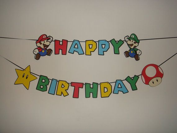 mario happy birthday party wall decoration banner cut out products