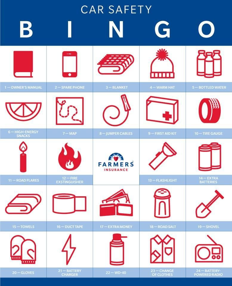 Let S Play Safe Car Bingo Do You Have Enough Of These Items In