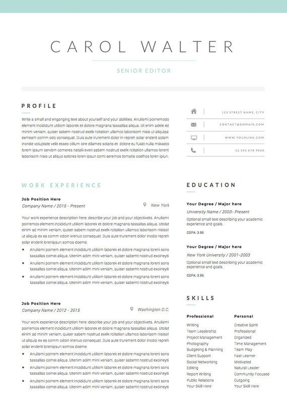 5 page Resume Template and Cover Letter References ...