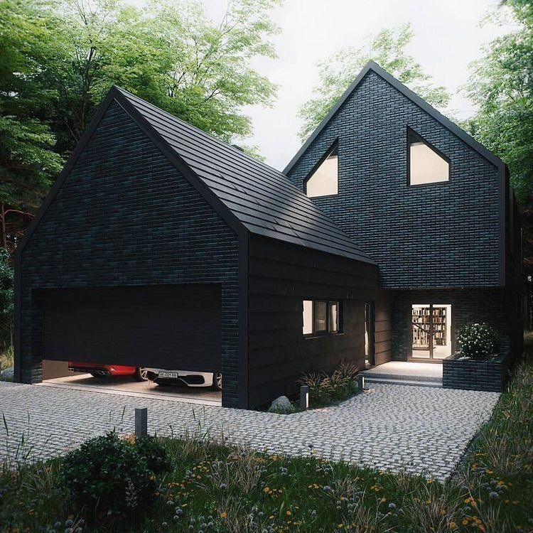 Love This Black Brick Home Black Brick Architecture House In The Woods Black House Exterior Architecture House