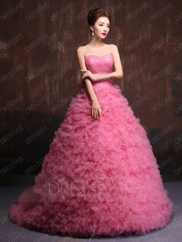 ec0a378370 Buy Sweet Ribbons Pleated Sweetheart Lace-up Sleeveless Court Train Floor  Length Ball Gown Dress Online
