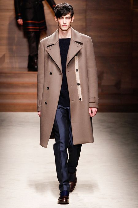 Look six, double-breasted camel pea coat from the Salvatore Ferragamo, love the stripe that run down the bottom panel.   http://www.style.com/fashionshows/review/F2014MEN-FERRAGAMO