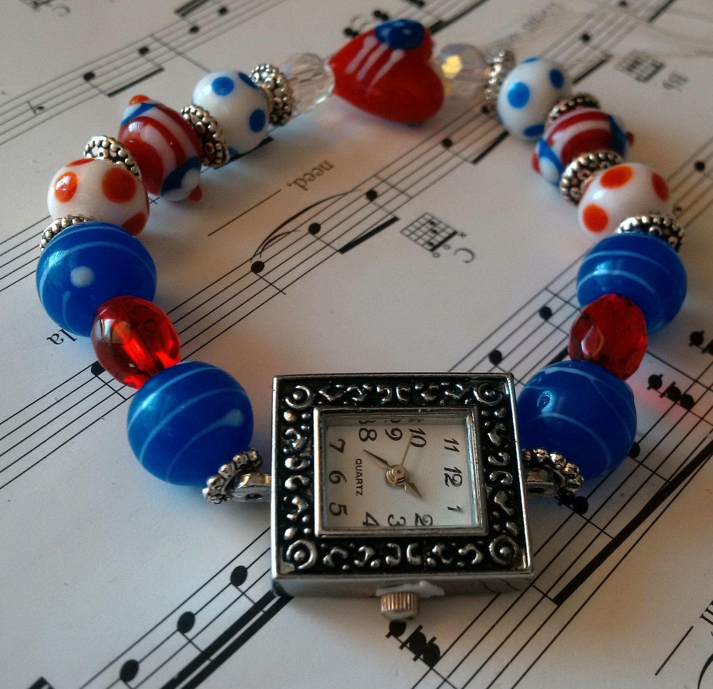 Patriotic American Watch; patriotic themed beaded watch; red, white & blue watch; flag watch; American beaded watch; lampwork beaded watch by FarringtonBead on Etsy