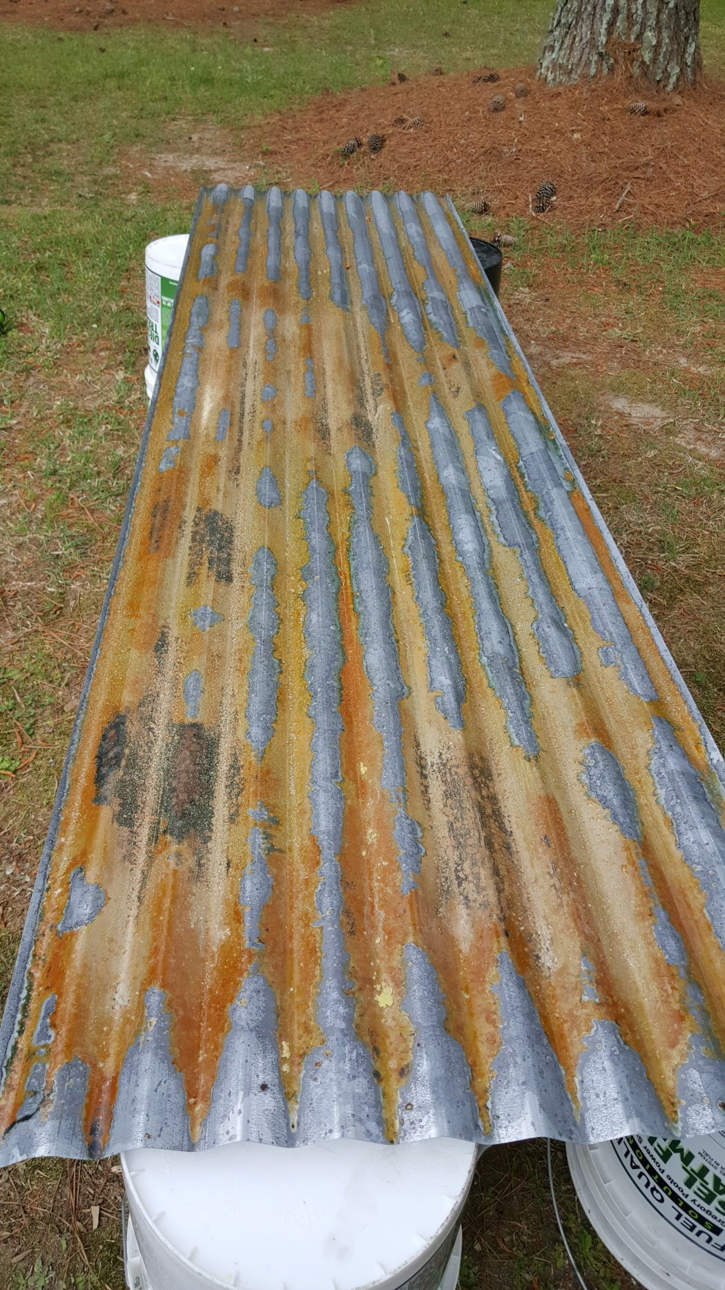 How To Age Galvanized Tin It S All Chic Barn Tin How To Rust Galvanized Metal Corrugated Metal Wall