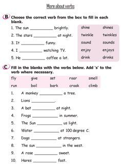 Grade 2 Grammar Lesson 12 More About Verbs 3 Teaching English
