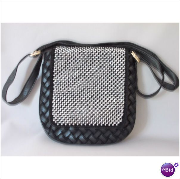 BLACK STUNNING DIAMANTE WEAVE CROSS BODY SATCHEL MESSENGER HANDBAG on eBid United Kingdom