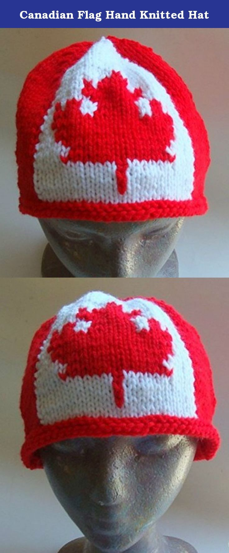 "Canadian Flag Hand Knitted Hat. Canadian flag maple leaf hand knitted hat. This hat is hand knitted in the USA. It is one size fits most. It is hand knitted in a machine washable acrylic yarn, made in the USA. It is made to fit a 22-23"" head, and measures 7"" in length."
