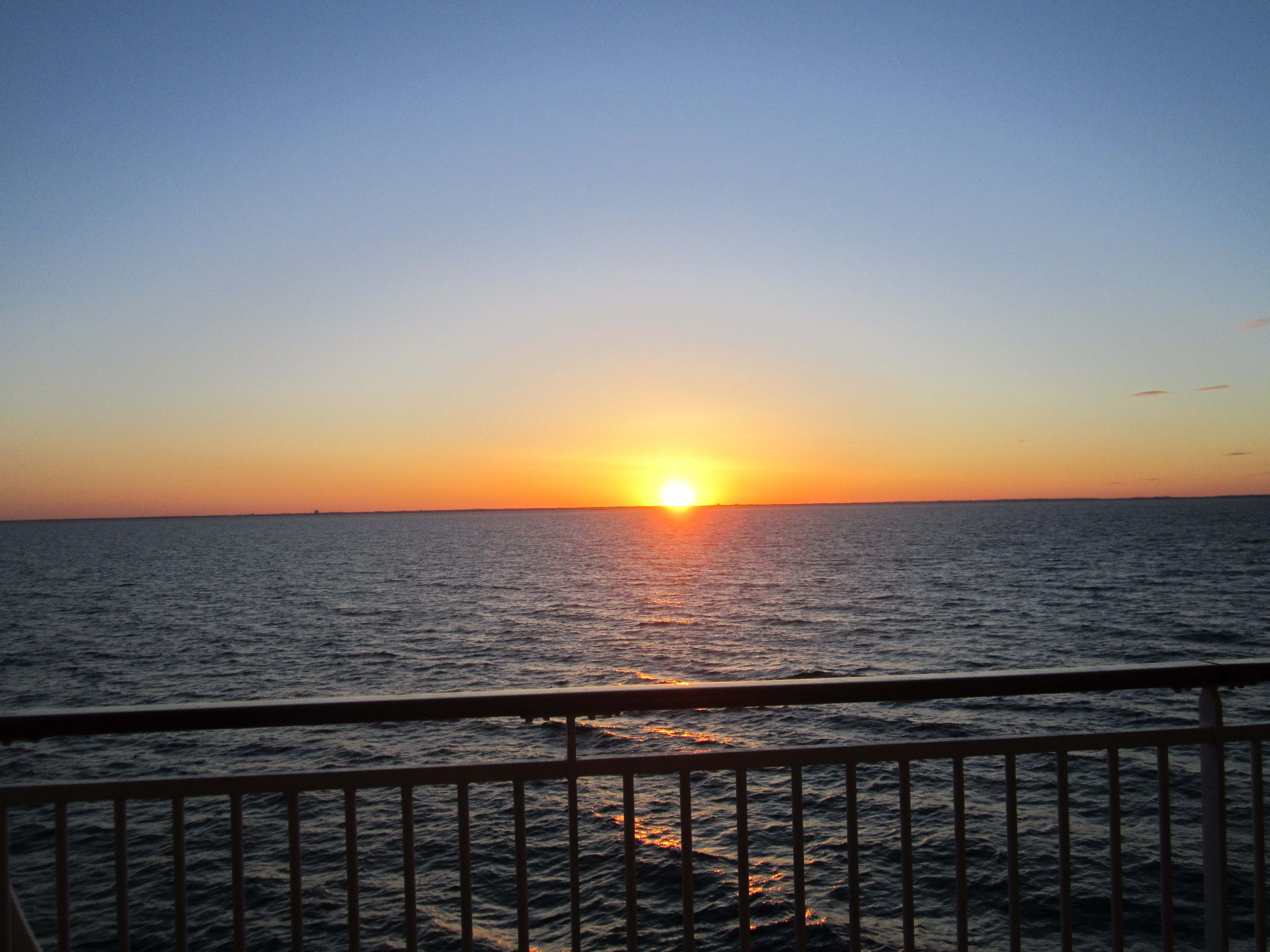Sunset on the ship deck