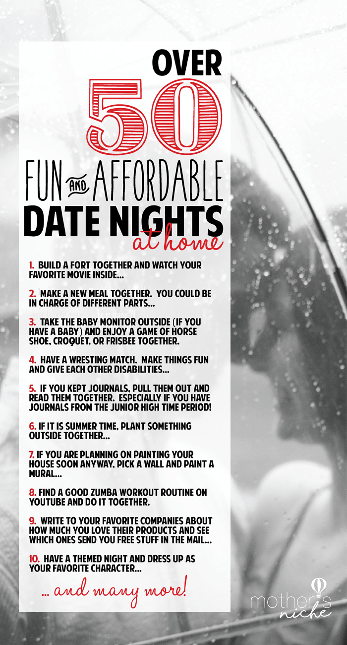 Date Nights at Home: Over 50 fun and Affordable Ideas