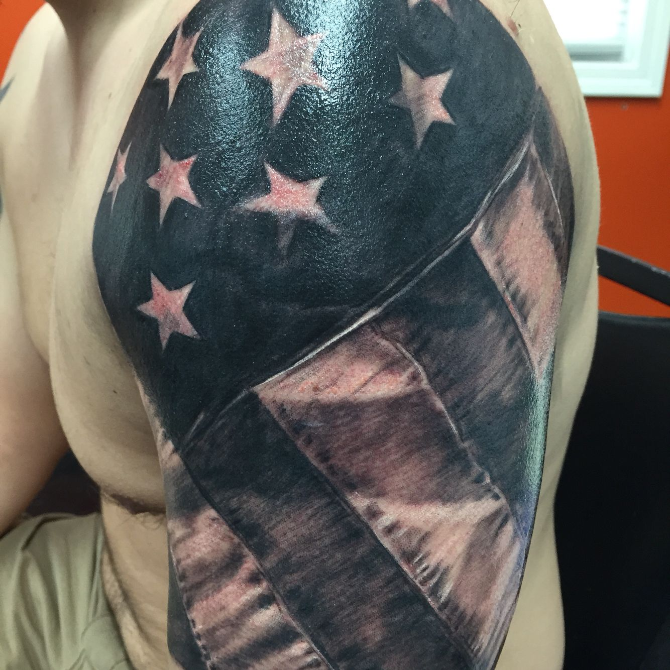 American Black And Grey Flag American Flag Tattoo American