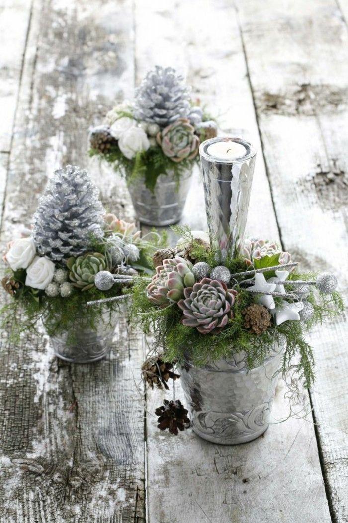 Tischdeko hochzeit winterdeko ideen sukkulenten - Hochzeitstisch dekorieren ...
