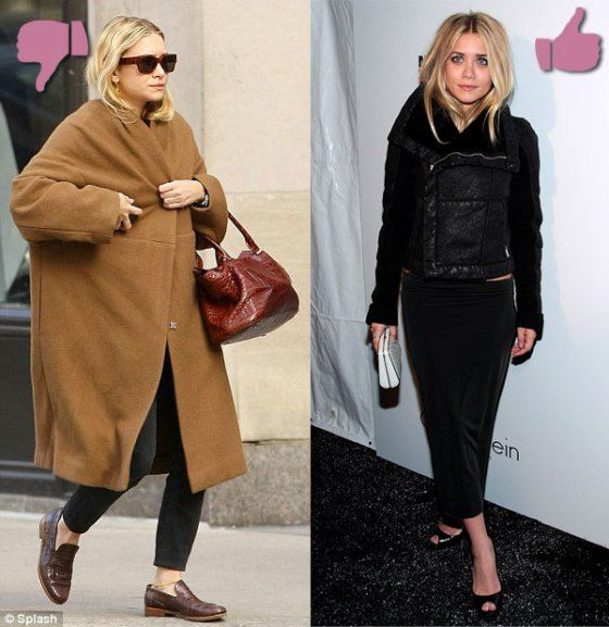 Petite celebrity Ashley Olsen in oversized coat and cropped moto ...
