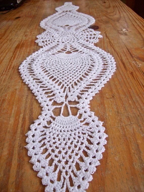 Table Runner Crochet Mercerized Cotton Pineapple Crocheted Handmade