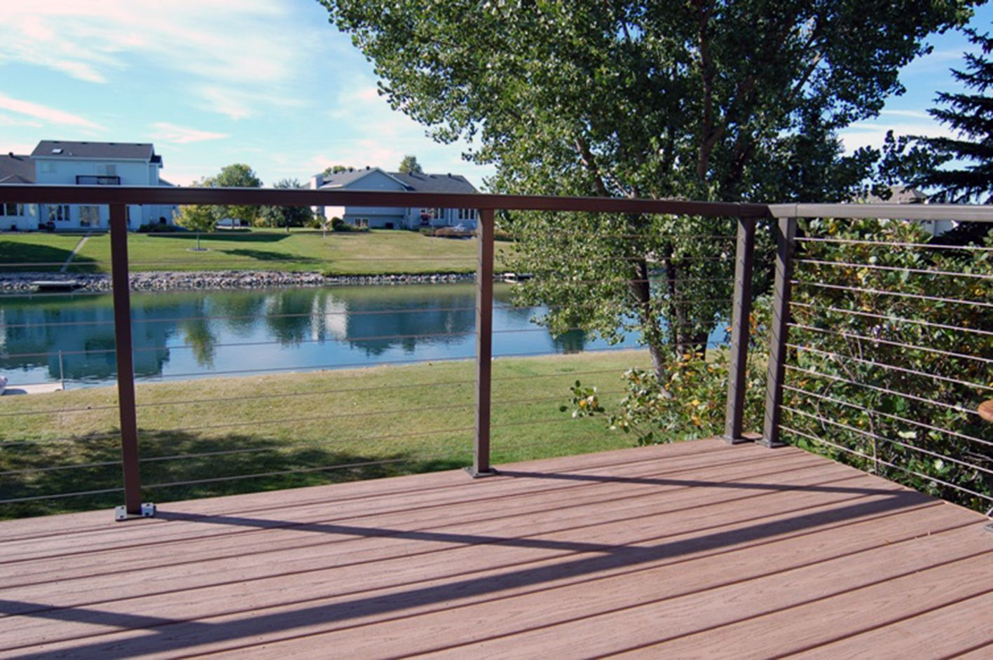 durarails powder coated aluminum top rails and posts provide the ultimate framework for the new cable deck railingdeck railing designporch