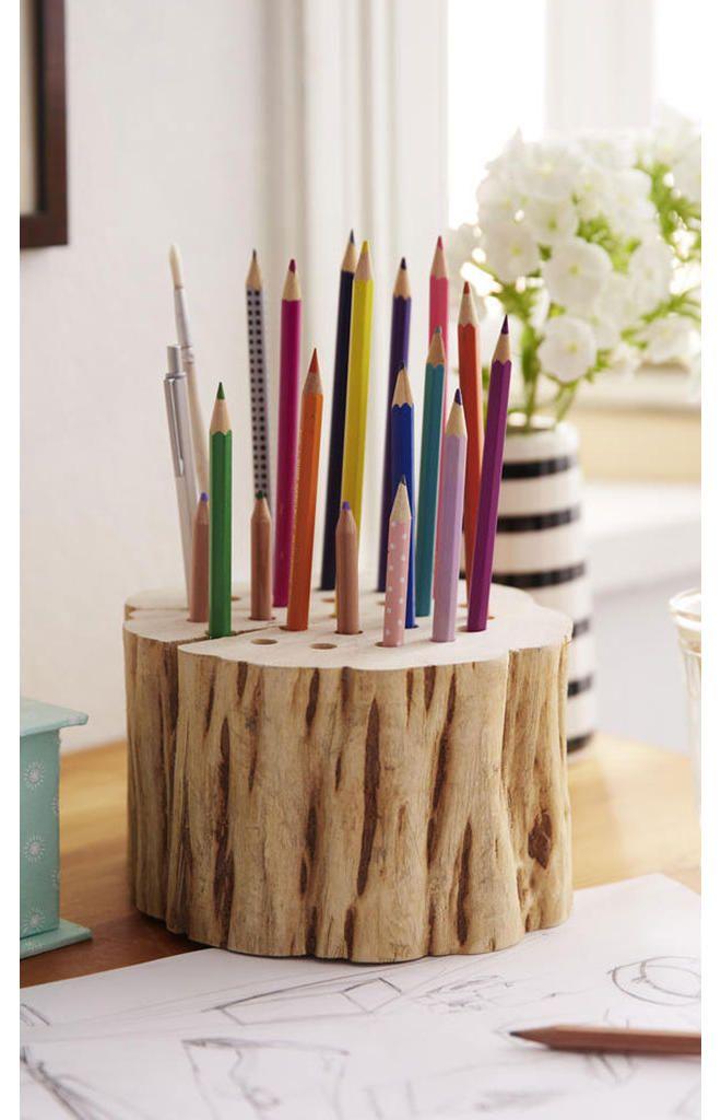 Holz Stiftehalter Selber Bauen Basteln Kinder Basteln Holz