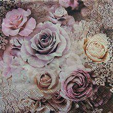 Papier - S573 - Servítky - vintage ruže - 6240270_