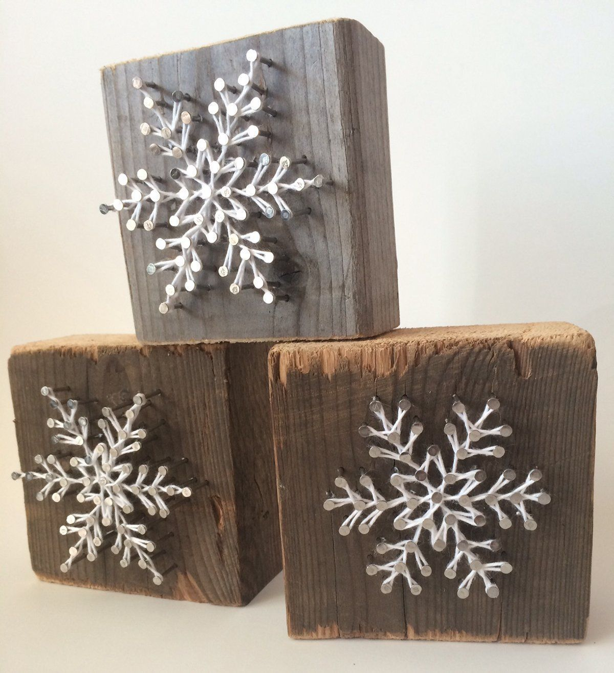 AmazonSmile: Rustic snowflake string art blocks - A unique gift for Birthdays, Christmas, Weddings, Anniversaries and House…
