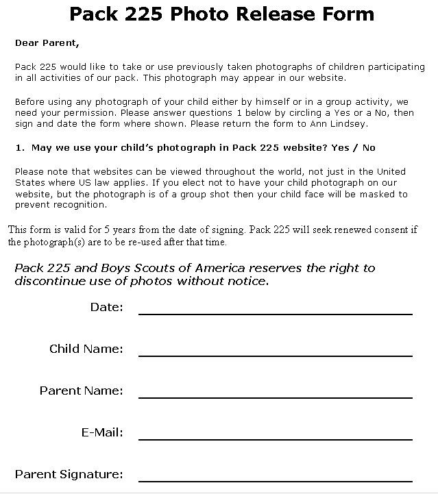 Name  Photo Release Forms  Release Form  Legal Documents