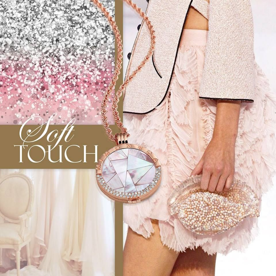 Mi Moneda rose gold plated deluxe pendant with destello chain and Carisma Light Pink coin #MiMoneda