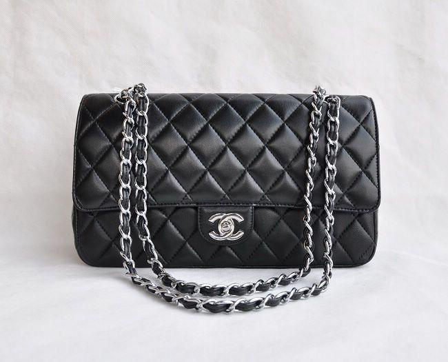 Chanel 2.55 1113 Black Lambskin coco bag silver chain  8192a3bcf3b99