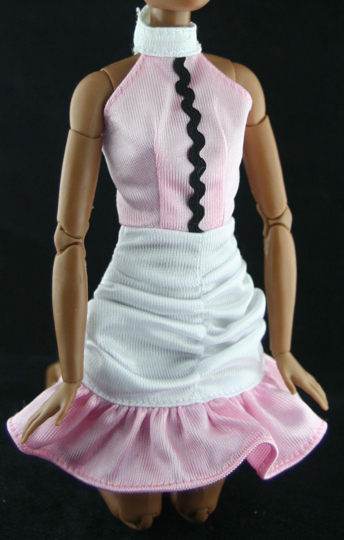 Barbie Clothes -- Ruffled Pink & White Mini Dress W/ Purple Tag ...