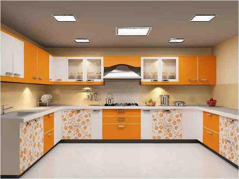 While   Yellow   Orange Floral Kitchen Design