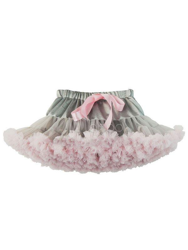eaf0fb94fbd8 Women s Tulle Skirt Ribbon Bow Layered Ruffles Two Tone Mini Tutu Skirt   Ribbon