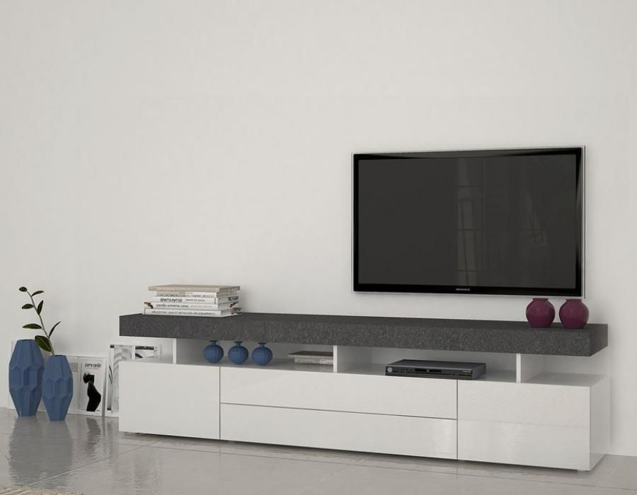 Treviso 5 Modern Tv Cabinet In White Gloss And Grey Report Finish